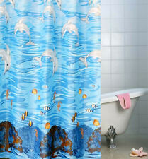 "71"" Waterproof Blue Dolphin Sea Fish Bath Shower Curtain Hooks Fabric Home Decor"