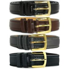 "Mens Milano 1"" Wide 4 Colours Bonded Leather Jeans Trouser Buckle Belt [2703]"