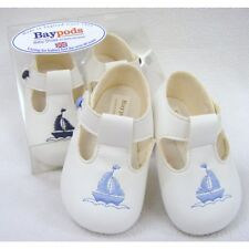 BABY BOYS BAYPODS PRAM SHOES BABY BLUE-WHITE-NAVY BAY PODS SAILOR THEME REBORN