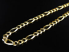 Solid 10K Yellow Gold 3MM Figaro Chain Necklace Lobster Clasp 16-26 Inches