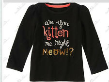NWT Gymboree Baby Girls RIGHT MEOW Black Kitten Me Top 18-24 Month or 2T Year