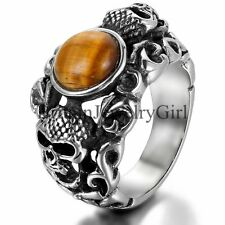 Stainless Steel Skull Artificial Tiger Eye Stone Men's Biker Ring Band Size 7-11