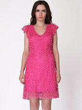 New Ladies Party Shift Dress Pink Textured Uk Size 6 8 10 12
