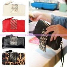 Fashion Womens Lady Purse PU Leather Handbag Rivet Clutch Shoulder Bag Wallet