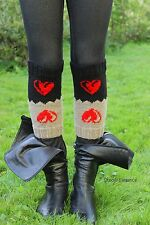 HANDKNIT heart wool boot toppers 2 in 1 leg warmers with Heart, from EUROPE