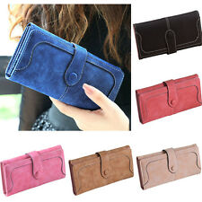 New Womens Ladies Girl Matte Leather Wallet Button Clutch Purse Long Handbag Bag