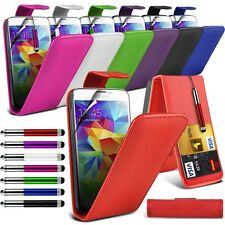 Pu Leather Flip Case Cover, Retractable Stylus Pen & LCD Film for Samsung Phones