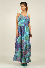 Kushi / Anmol Strappy Floaty BoHo Festival Maxi Dress BLUE MULTI Size 10 to 18