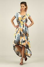 Kushi / Anmol Floaty Hi-Low Tropical Print Maxi Dress GREY / ORANGE Sz 10 & 14