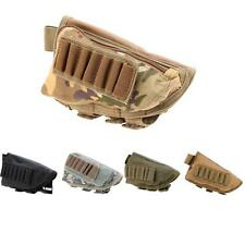 Tactical Military Rifle Stock Ammo Pouch Holder w/ Leather Pad New 8O87