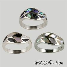 Silver Ring with Mother of Pearl, Abalone Shell or Mother of Pearl with Onyx