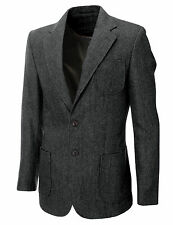 MENS HERRINGBON​E WOOL BLAZER JACKET WITH ELBOW PATCHES sz S,M,L,XL / BJ902GR