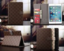 Luxury Deluxe Grid Folio Wallet Leather Smart Case Cover For Apple iPad