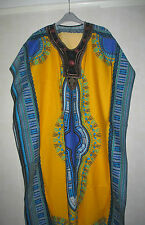 NEW LADIES YELLOW DASHIKI BATIK PRINT KAFTAN DRESS. PLUS SIZES 16-18-20-22