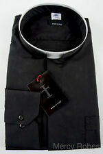 New Mens BLACK ROMAN COLLAR CLERGY SHIRT, Tonsure Collar, Long Sleeve, Priest