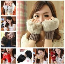 Fashion Winter Arm Warmer Fingerless Gloves Knitted Fur Trim Gloves Mittens New