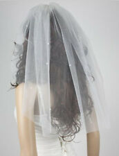 1T White / ivory String Beads tulle wedding bridal veil headdress with comb