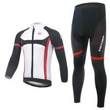 Mens Bike Bicycle Cycling Bib Suit Long Sleeve Jersey Padded Trousers Set Knight