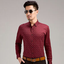 Fashion Men Slim Long Sleeve Peaked Lapel Color Block Embroidery Casual Shirts