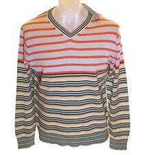 Bnwt Authentic Men's French Connection V Neck Jumper Sweater Striped New