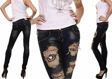 Sexy Women Denim Trouser Destroyed Look Skinny Jean Ladies Pant Size 6 8 10 12 S
