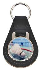 BADMINTON LEATHER KEY FOB Keyring Gift Choice of Colours & Design NEW