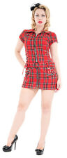 NEW HEARTS AND ROSES RED TARTAN CORSETING STRAPS PUNK EMO MINI SHORT DRESS 8-18