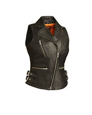 FMC Ladies Black Leather Motorcycle Biker Vest w/ Snap Down Lapel and Collar
