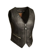 FMC Ladies Black Leather Motorcycle Biker Vest w/ Adj Pyramid Rear Laces XS- 5XL
