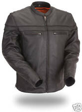 FMC Mens Black Leather Motorcycle Sporty Scooter Jacket w/Liner S - 8XL