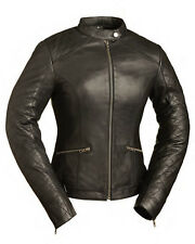 FMC Ladies Black Leather Scooter Motorcycle Biker Jacket Quilted Details XS-5XL