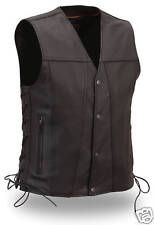 FMC Mens Black Leather Single Panel Classic Motorcycle Biker Vest