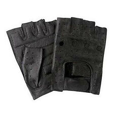 Olympia 107 Outrider II Men's Black Fingerless Leather Motorcycle Gloves