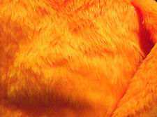 Plain Fun Faux Fur Fabric Material BRIGHT ORANGE