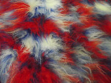 LONG Pile Fun Faux Fur Fabric Material RED/WHITE/ROYAL MIX