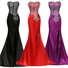 Sexy Women Beaded Mermaid Prom Bridesmaids Evening Wedding Ball Gown Party Dress