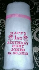 Personalised Embroidered Baby Blanket Boy / Girl Babies 1st Birthday Blue / Pink