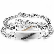 """""""Forever Courage"""" Engraved His&Hers Stainless Steel Couple Chain Bangle Bracelet"""
