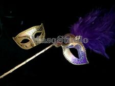 Purple Masquerade mask with stick costume dress up dinner bachelor dance Party