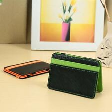 Mens Slim Wallets ID Credit Card Holder Bifold Money Clip Faux Leather NEW E4NC