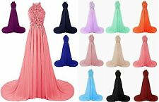 Halter Lace Prom Dress Bridesmaid Formal Gown Ball Party Cocktail Evening Custom