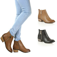 Womens Ladies Cowboy Ankle Boots Cuban Block Low Mid Block Heel Shoes Zip Size