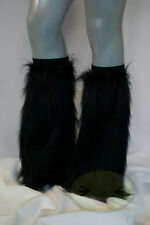 Black Fluffy Legwarmers Rave Wear Accessories