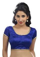 Ethnic Royal Blue Party-wear Silk Sari Blouse Choli Saree Indian Crop Top