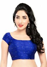 Charismatic Royal Blue Ethnic Saree Blouse Choli Sari Indian Crop Top