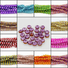 New pretty 48pcs 8mm Faceted crystal loose spacer plating edge round bead