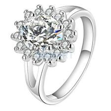 Women Bridal Party Gift .925 Silver Plated Zircon Crystal Sun Flower Finger Ring