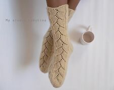 hand knitted socks, eco 100% wool undyed socks, womens knit socks, winter socks