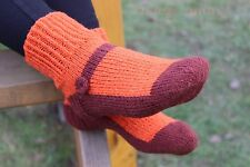 Wool hand knitted socks, eco 100% wool mens socks home eco sleepers home shoes