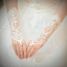 Bridal Wedding Costume Dress Fingerless Long Gloves Crystal Sequins Lace Satin
